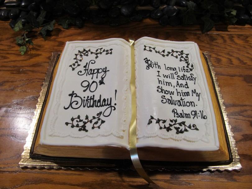 Christian Birthday Cakes Birthday Bible Shaped Cake A Bakers Dozen Pinterest 90th