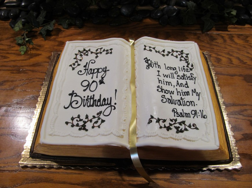 Christian Birthday Cakes Birthday Bible Shaped Cake A Bakers Dozen Pinterest 90th