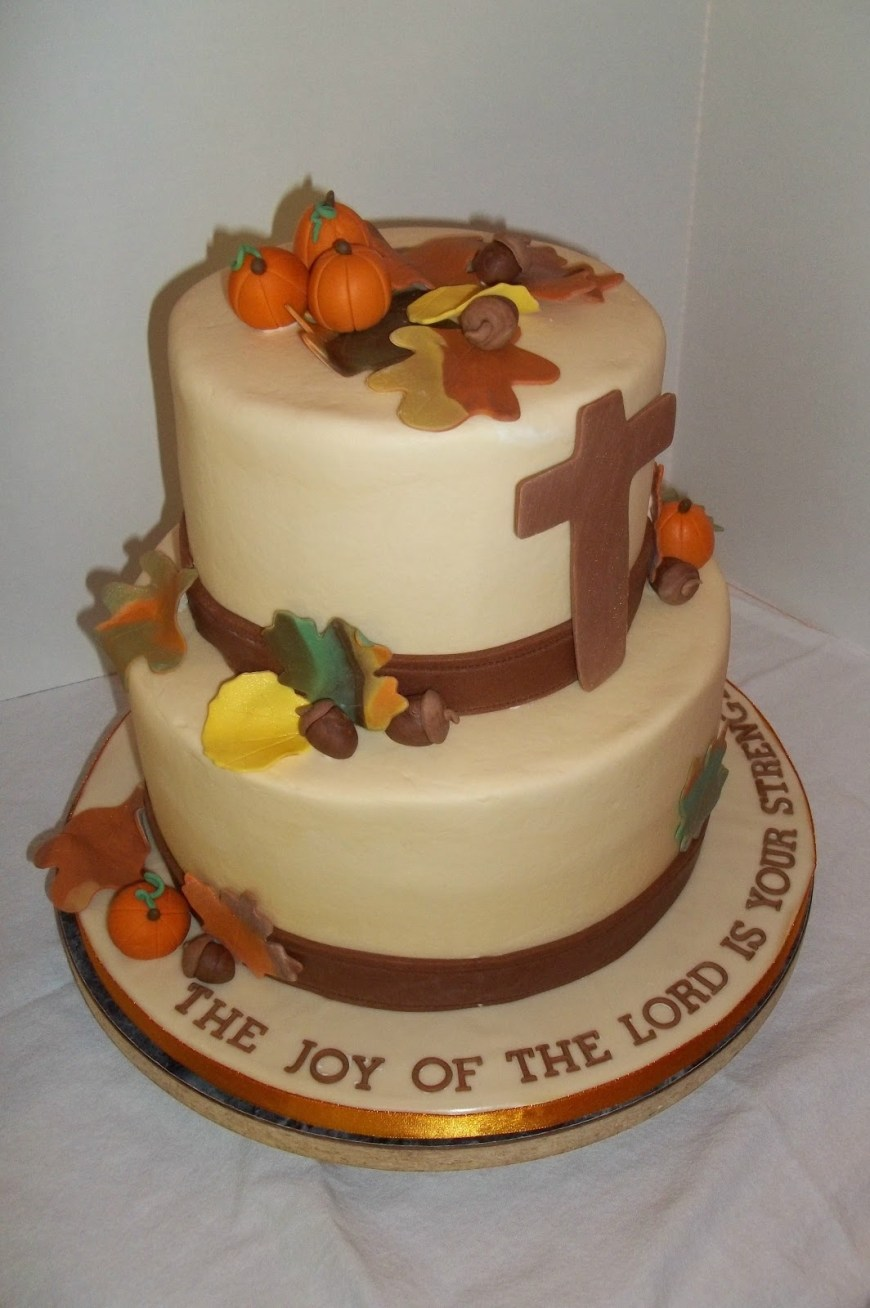 Christian Birthday Cakes Bobbies Cakes And Cookies A Fall Themed Birthday Cake