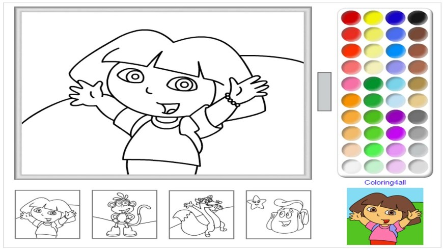 Color Pages Online Dora The Explorer Online Coloring Pages Game Dora Coloring Game