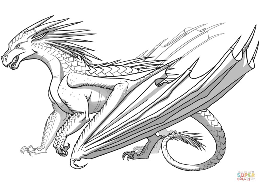Coloring Pages Dragons Icewing Dragon From Wings Of Fire Coloring Page Free Printable