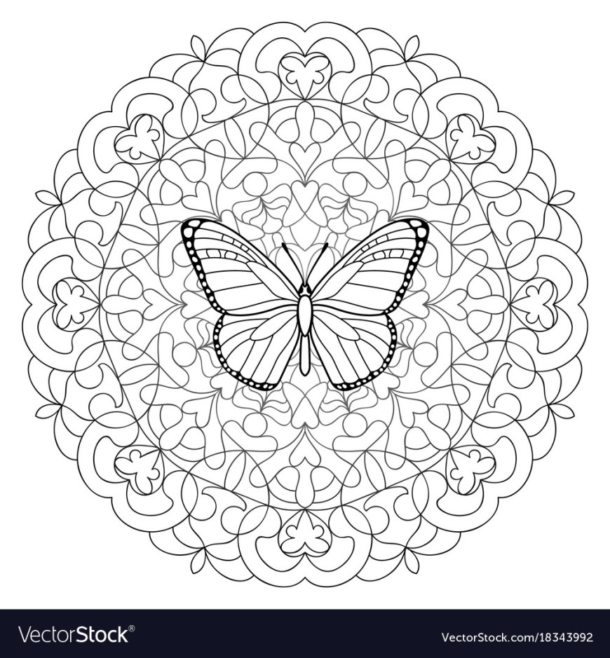 Coloring Pages Mandala Butterfly Mandala Coloring Page Royalty Free Vector Image