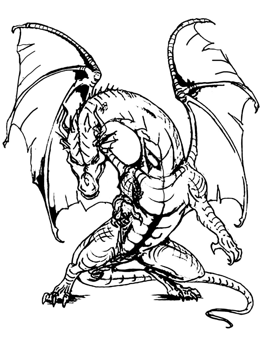 Coloring Pages Of Dragons Giant Dragon Dragons Adult Coloring Pages