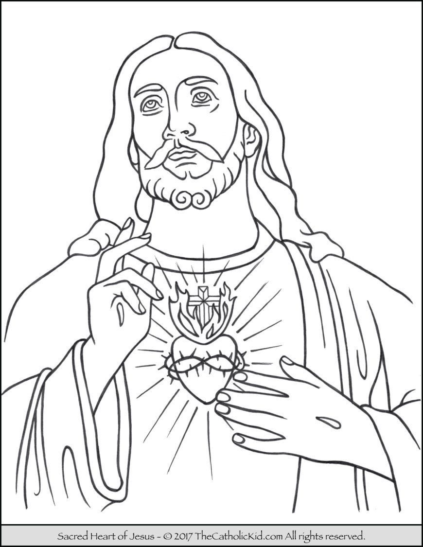 Coloring Pages Of Jesus Sacred Heart Of Jesus Coloring Page Thecatholickid