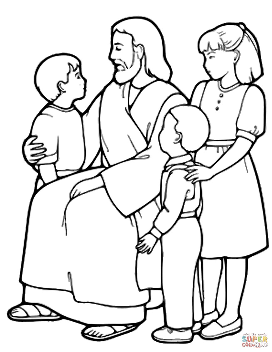 Coloring Pages Of Jesus The Little Children And Jesus Coloring Page Free Printable