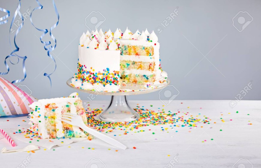 Confetti Birthday Cake White Buttercream Confetti Birthday Cake With Colorful Sprinkles