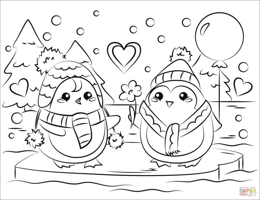 Couple Coloring Pages Love Coloring Pages Penguin Couple In Page Free Printable 15001159