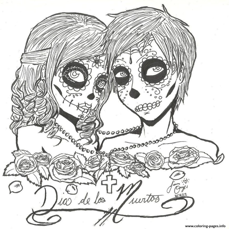 Couple Coloring Pages Skull Sugar Couples Love Coloring Pages Printable
