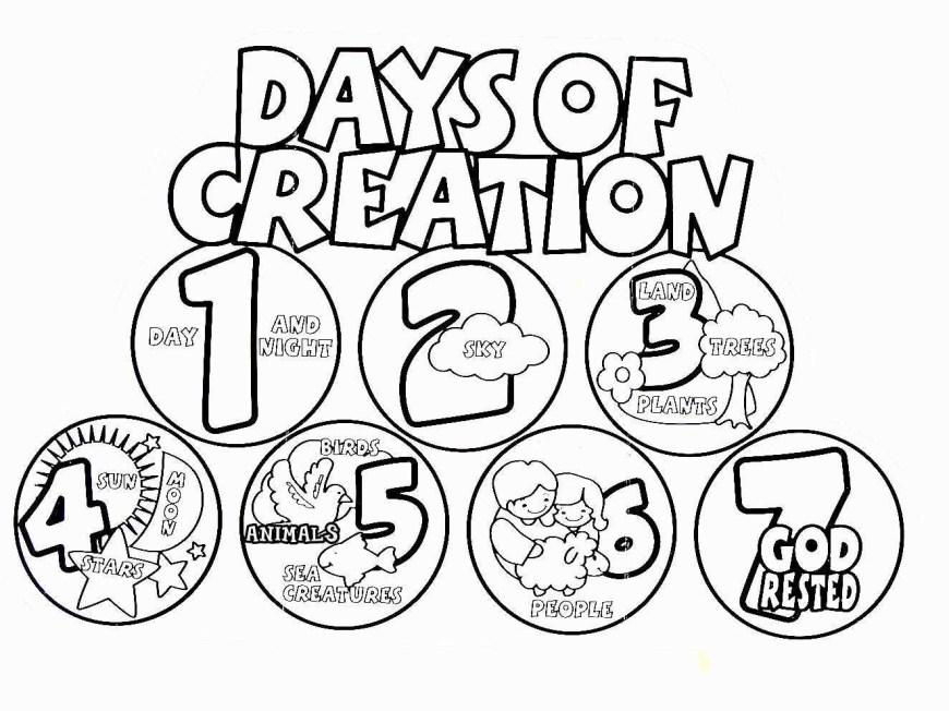 Days Of Creation Coloring Pages 7 Days Of Creation Drawing At Paintingvalley Explore