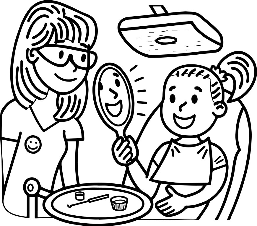 Dental Coloring Pages Dental Doctor And Girl Perfect Teeth Coloring Page Wecoloringpage