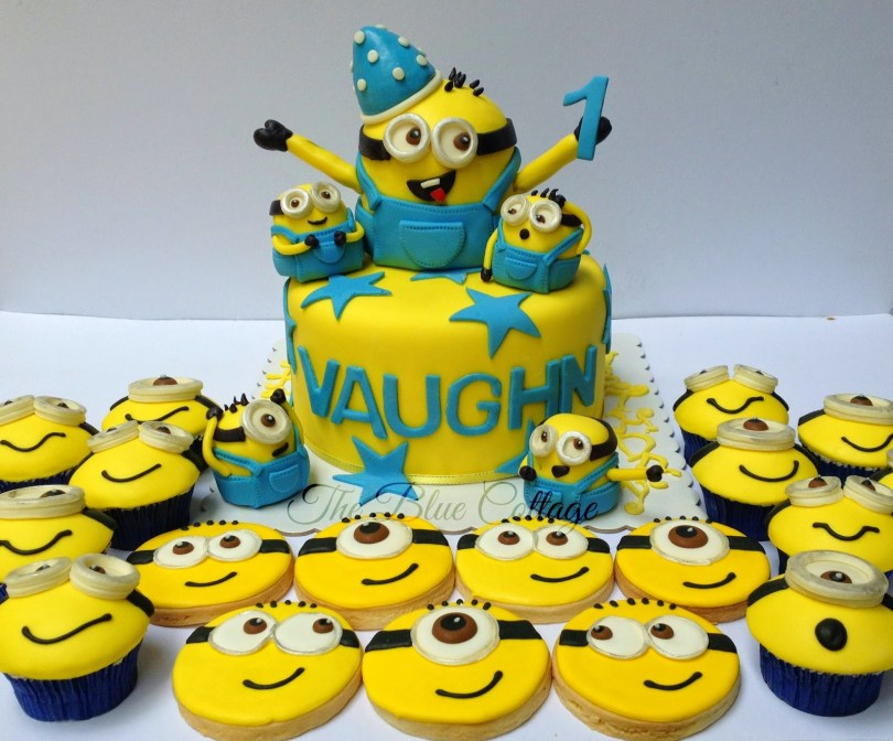 Despicable Me Birthday Cake The Blue Cottage Fondant Birthday Cake Cupcakes And Sugar Cookies