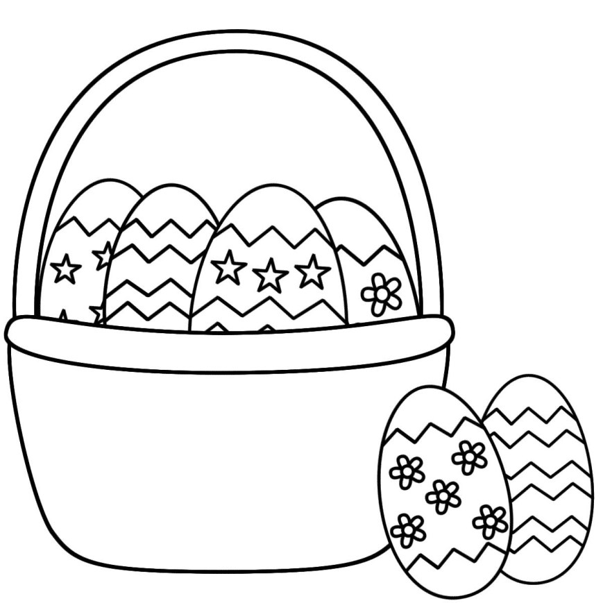 Easter Basket Coloring Pages Coloring Pages Of Easter Eggs In A Basket Printable Educations For