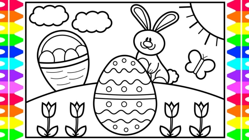 Easter Coloring Pages For Kids How To Draw The Easter Bunny Step Step For Kids Easter