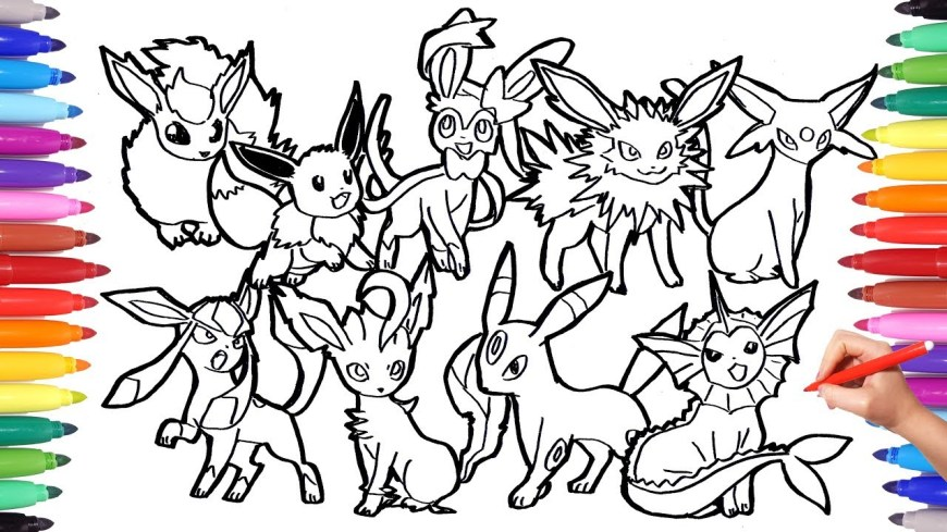 Eevee Evolutions Coloring Pages Pokemon Coloring Pages Eevee Evolution Pokemon Coloring Book Fun