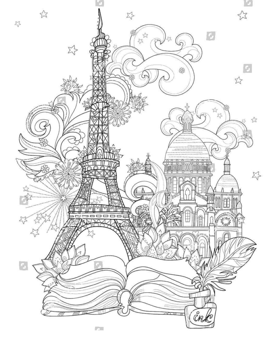 Eiffel Tower Coloring Page Eiffel Tower Coloring Pages Colouring Line Drawing Free Printable
