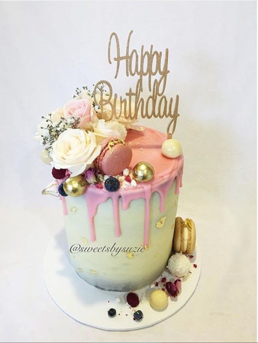 Elegant Birthday Cake Images Pink Drip Rustic Birthday Cake Made Sweetssuzie Adults And