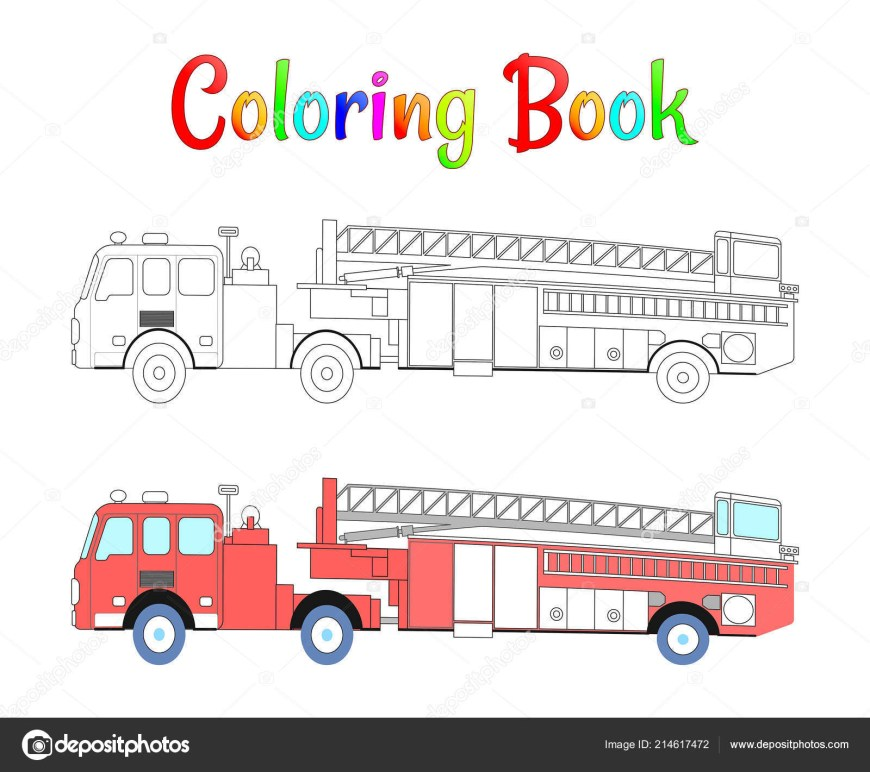 Fire Truck Coloring Page Fire Truck Coloring Book Vector Coloring Pages For Kids Vector