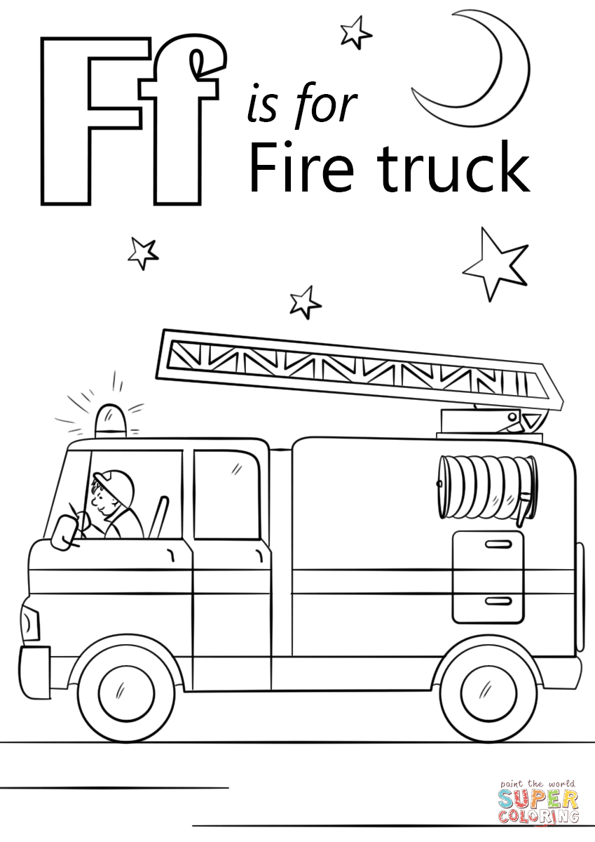 Fire Truck Coloring Page Letter F Is For Fire Truck Coloring Page Free Printable Coloring Pages