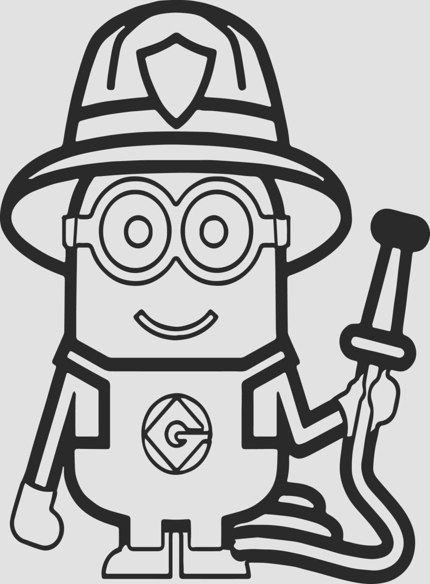 Fireman Coloring Pages Despicable Me Coloring Sheets Minions Fireman Coloring Page