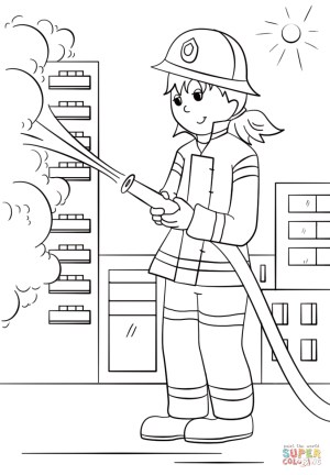 Fireman Coloring Pages Girl Firefighter Coloring Page Free Printable Coloring Pages