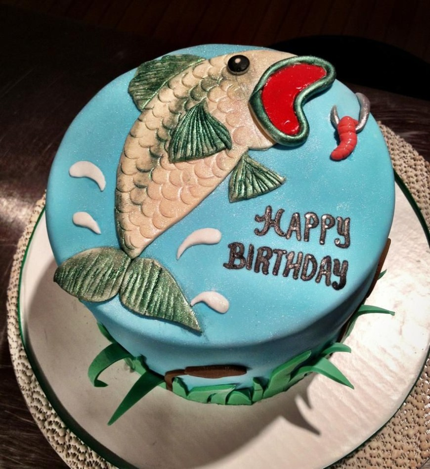 Fish Birthday Cakes Bass Fishing Birthday Cake Creation Sweet Cakes Pinterest