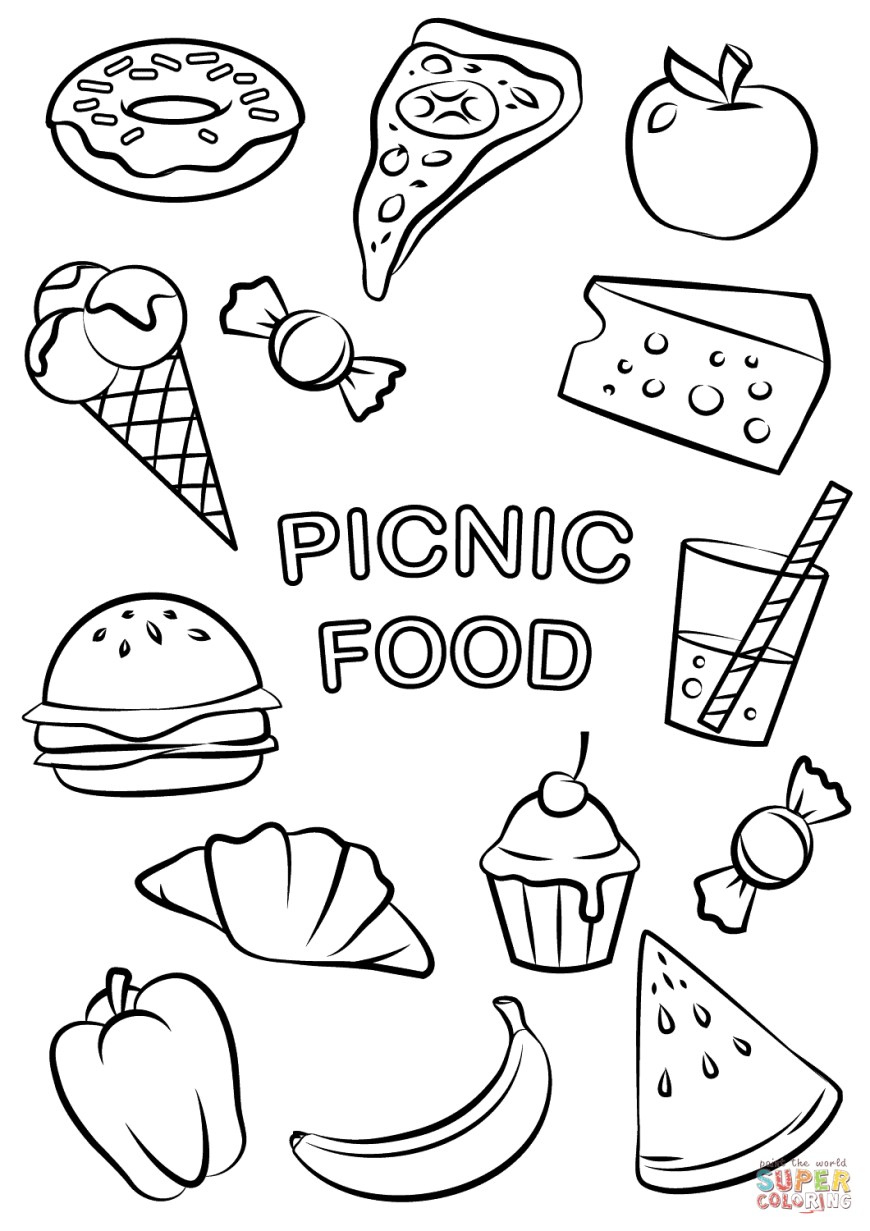 Food Coloring Pages Picnic Food Coloring Page Free Printable Coloring Pages