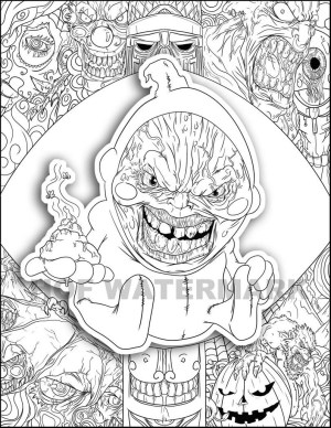 Funny Coloring Pages Creepy Coloring Funny Coloring Page Monster Coloring Etsy