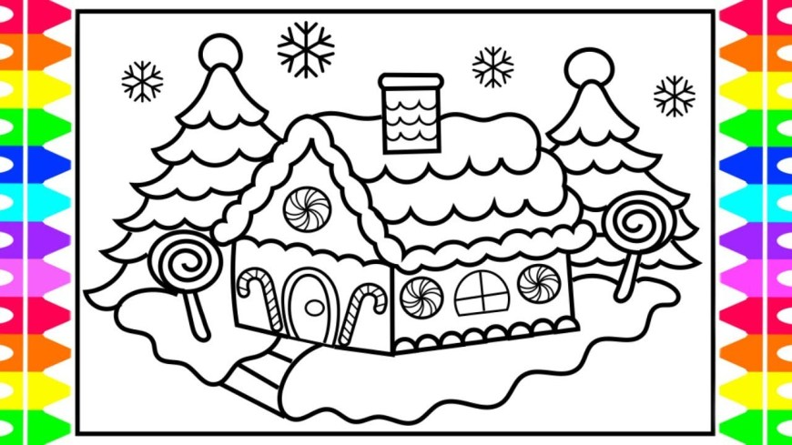 Gingerbread House Coloring Pages Christmas Coloring How To Draw And Color A Gingerbread House Kids