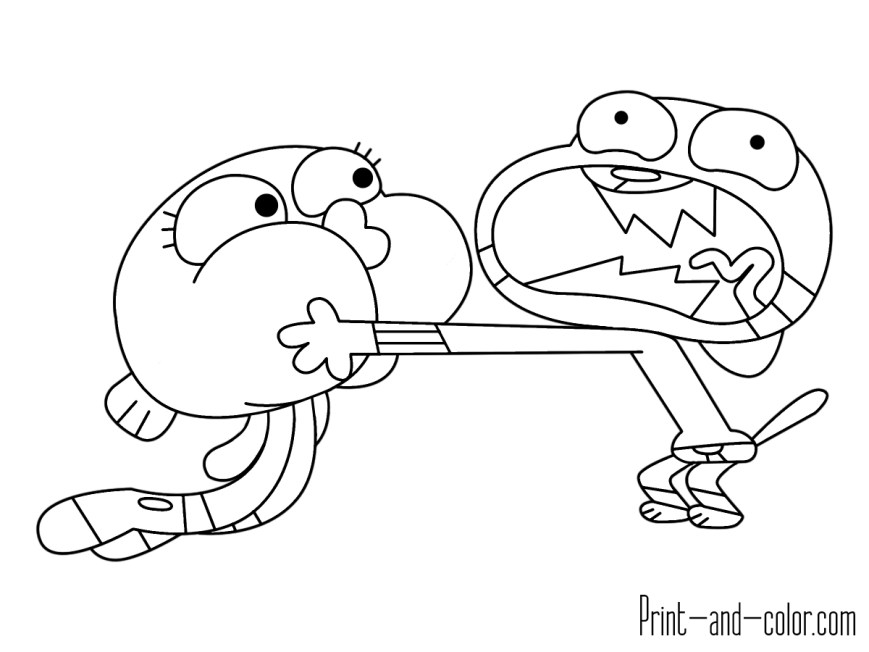Gumball Coloring Pages The Amazing World Of Gumball Coloring Pages Print And Color