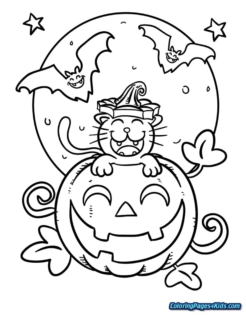 Halloween Cat Coloring Pages Halloween Cat Coloring Page Pages 33 Cute Thanhhoacar Com 7991024