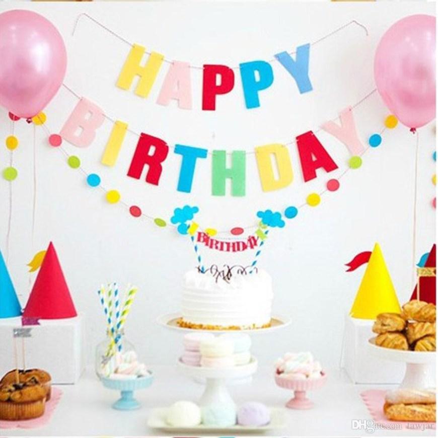 Happy Birthday Cake Banner 2019 Wholesale Happy Birthday Cake Bunting Banner Kit Flag Decor