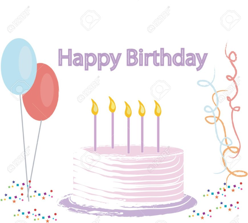 Happy Birthday Cake Banner Vector Illustration Of A Birthday Cake Banner Balloons Confetti