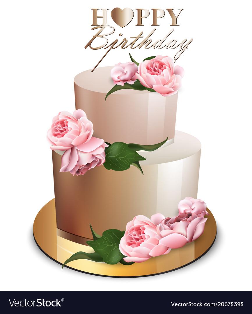 Happy Birthday Cake Images Happy Birthday Cake Realistic Anniversary Vector Image