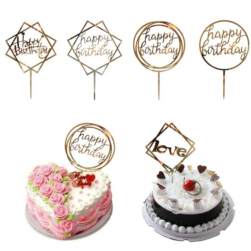 Happy Birthday Cake Topper 2019 Love Happy Birthday Golden Cake Topper Party Supplies Happy