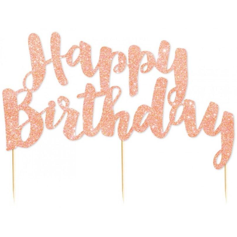 Happy Birthday Cake Topper Cake Topper Glitter Rose Gold Happy Birthday Cupcake Toppers