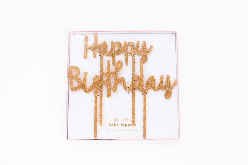 Happy Birthday Cake Topper Happy Birthday Gold Glitter Cake Topper Frulein K Sagt Ja Partyshop