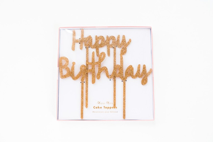 Happy Birthday Cake Topper Happy Birthday Gold Glitter Cake Topper Frulein K Sagt Ja Partyshop