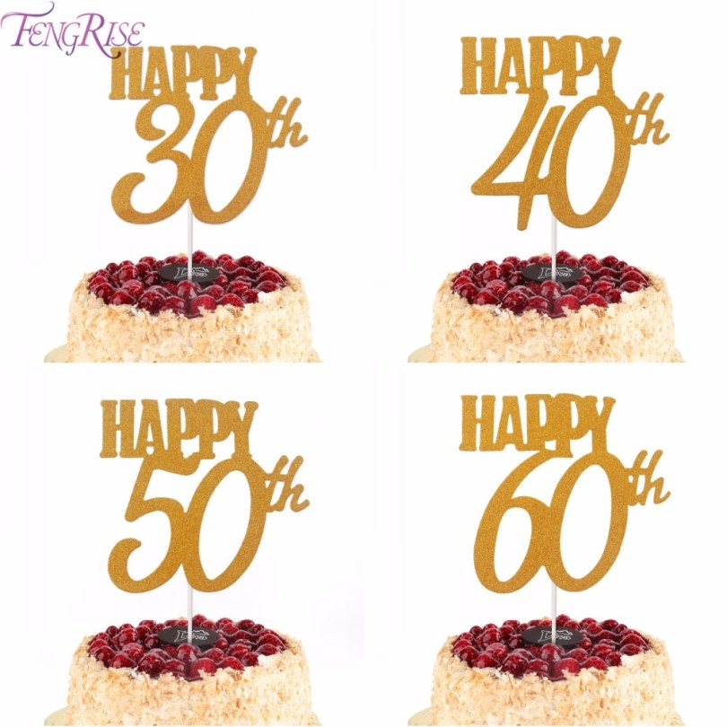 Happy Birthday Cake Topper Hot Sale Fengrise 1pc Gold Happy 30th Birthday Cake Topper Happy 40