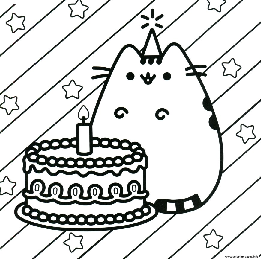 Happy Birthday Coloring Page Pusheen Cake Happy Birthday Coloring Pages Printable