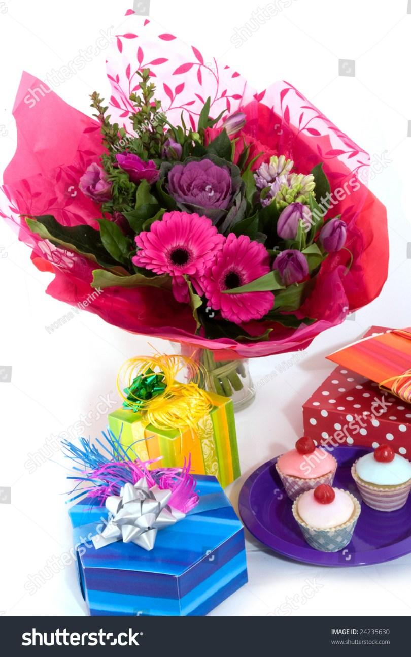 Happy Birthday Flower Cake Happy Birthday Flowers Fancy Cakes Presents Stock Photo Edit Now