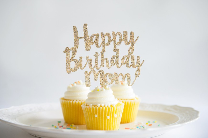 Happy Birthday Mom Cake Happy Birthday Mom Cake Topper Glitter Party Decorations Etsy