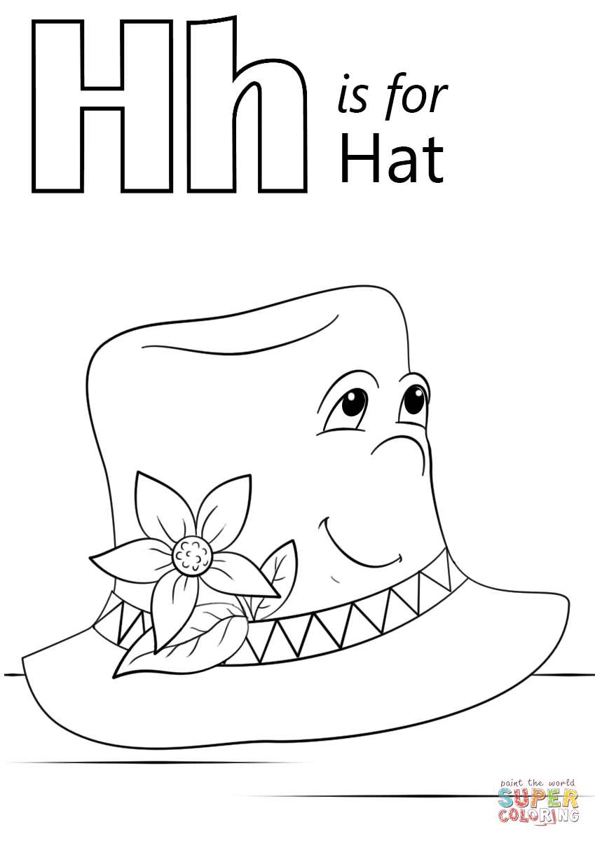 Hat Coloring Page Hat Coloring Pages Printable Letter H Is For Page Free 8491200