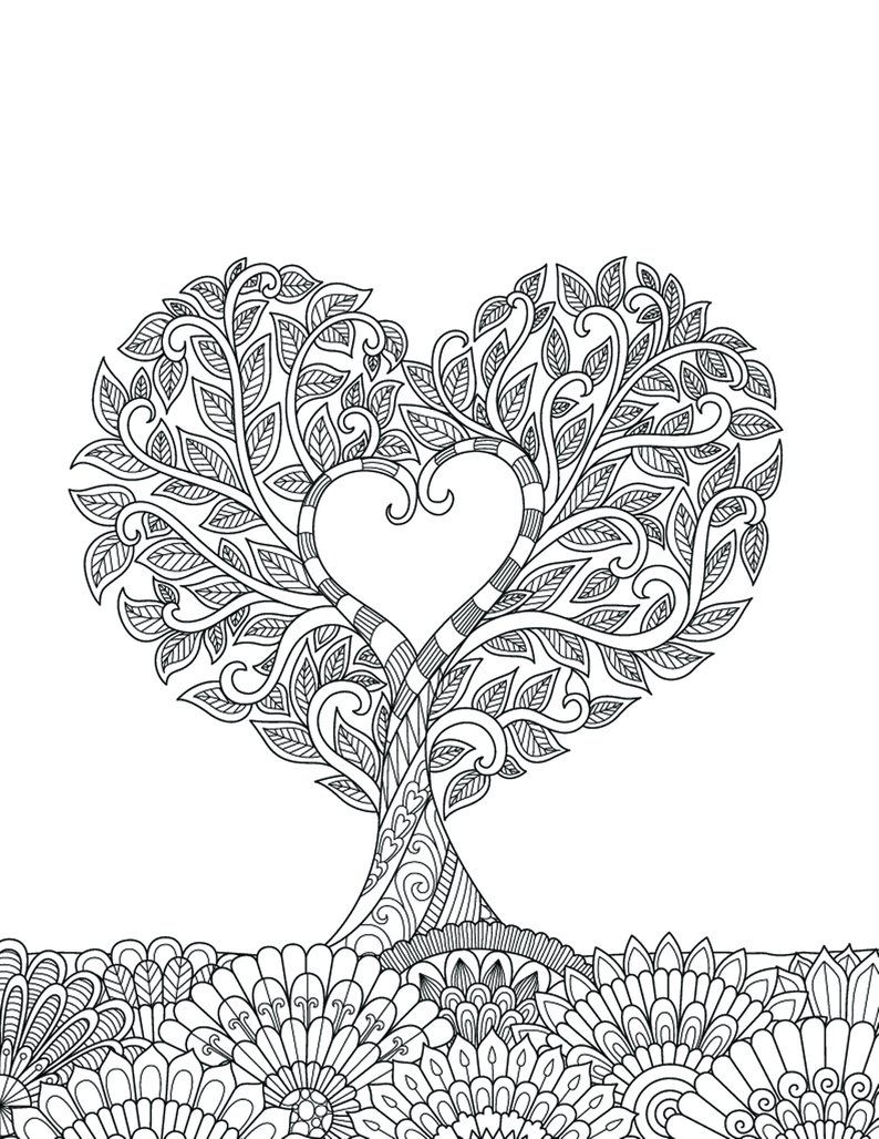 Heart Coloring Page Heart Coloring Pages For Adults 1 Printable Coloring Page Etsy