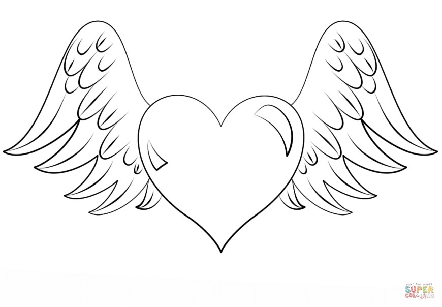 Heart Coloring Page Heart With Wings Coloring Page Free Printable Coloring Pages