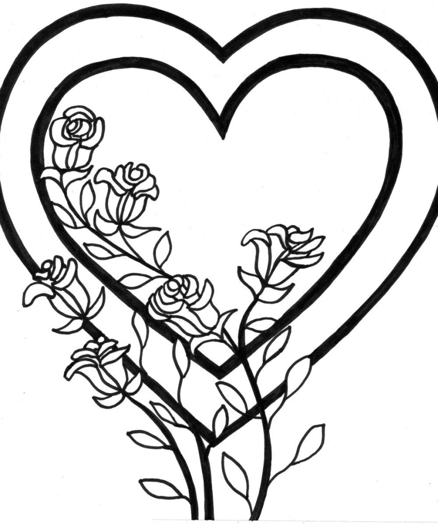 Hearts Coloring Pages Coloring Pages Of Dolphins Free Printable Roses And Hearts Disney