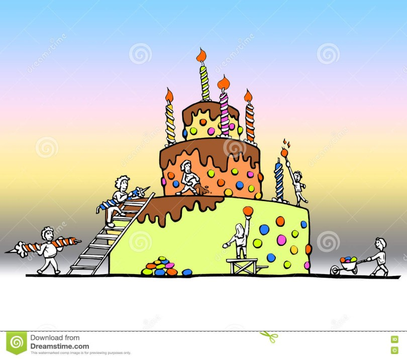 Huge Birthday Cake Enormous Birthday Cake Stock Illustration Illustration Of Color
