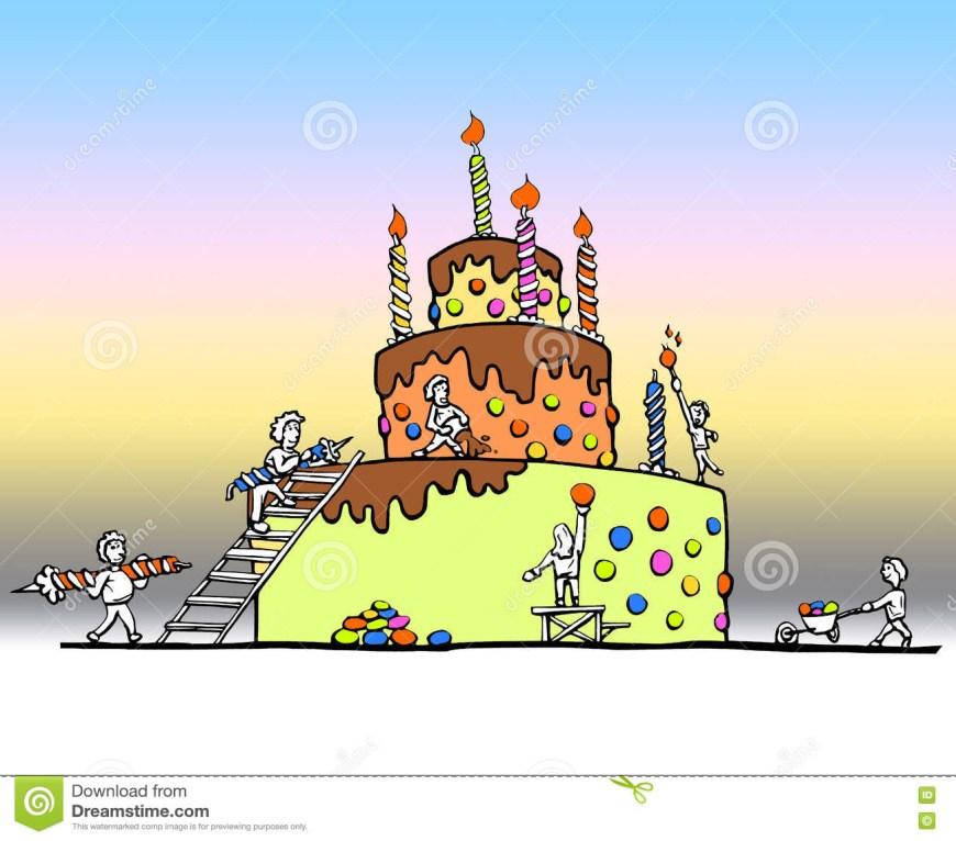 Huge Birthday Cake Enormous Birthday Cake Stock Illustration Illustration Of Color