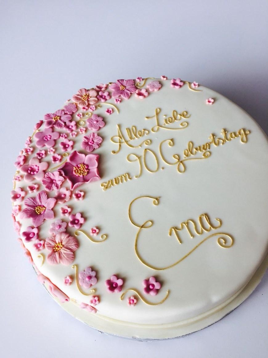 Images Of Birthday Cake Blumige Geburtstagstorte In Altrosa Und Gold Birthday Cake Blush