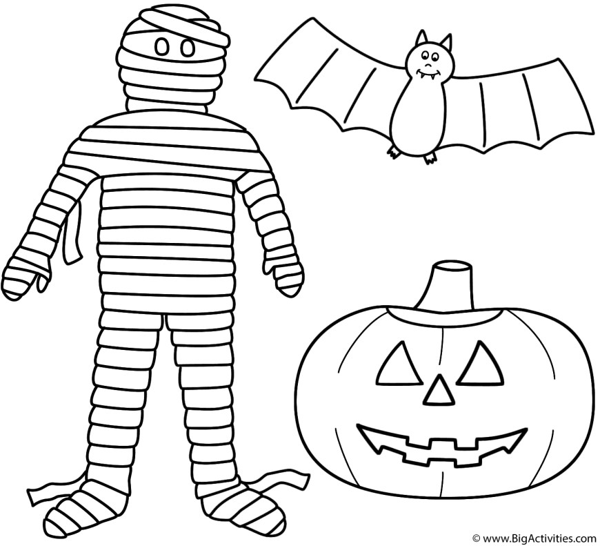 Jack O Lantern Coloring Page Mummy With Pumpkinjack O Lantern And Bat Coloring Page Halloween