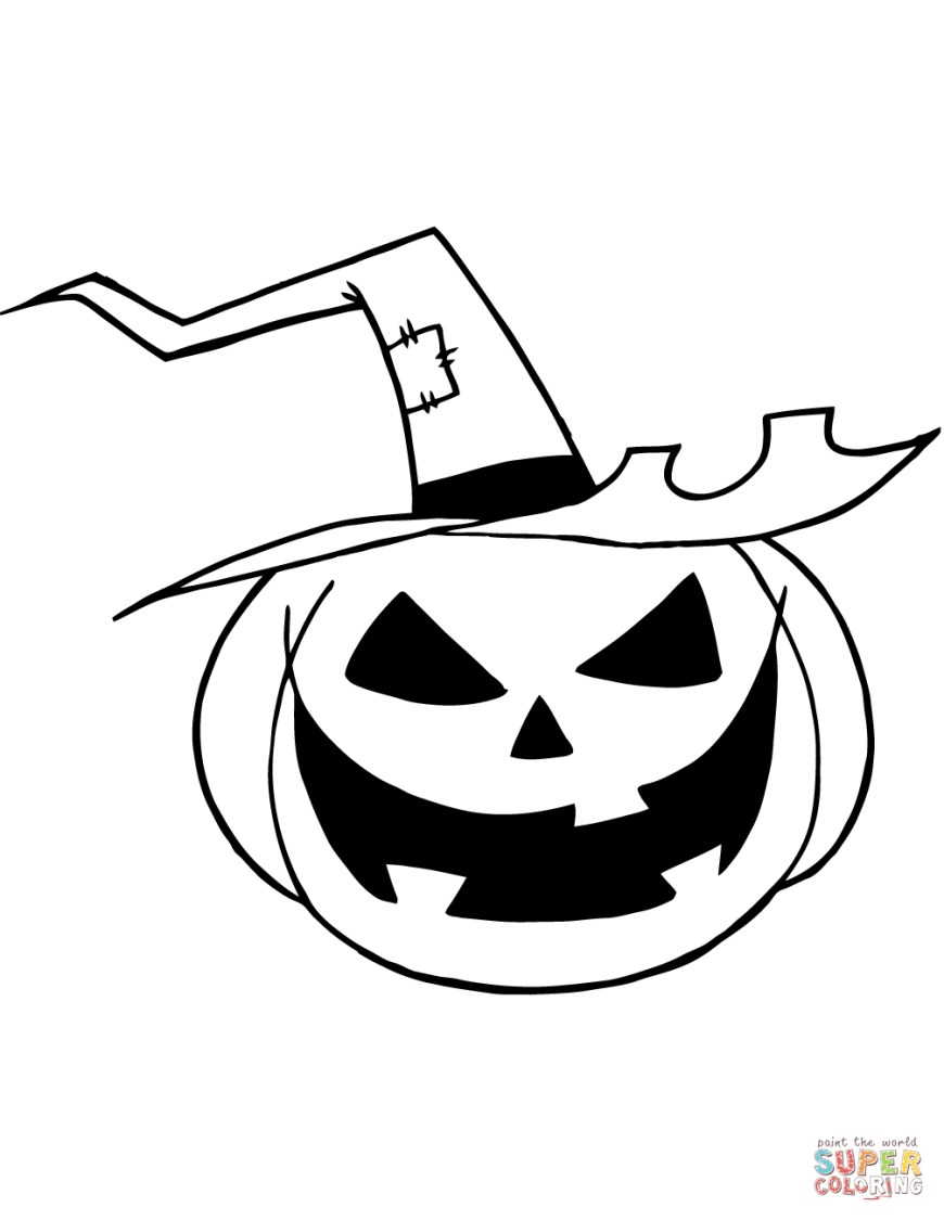 Jack O Lantern Coloring Page Scary Jack O Lantern With A Witch Hat Coloring Page Free